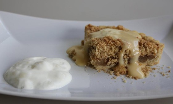 Spiced Pear Crumble Pie, served